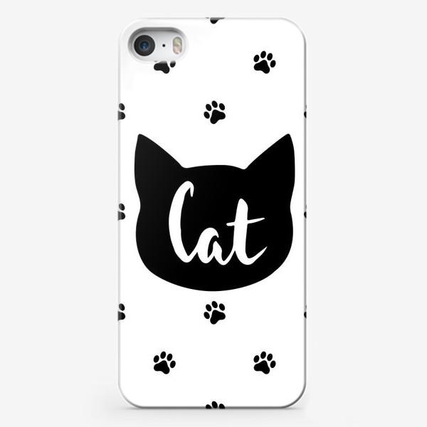 Чехол iPhone «Cat. Кот/Кошка и кошачьи следы»