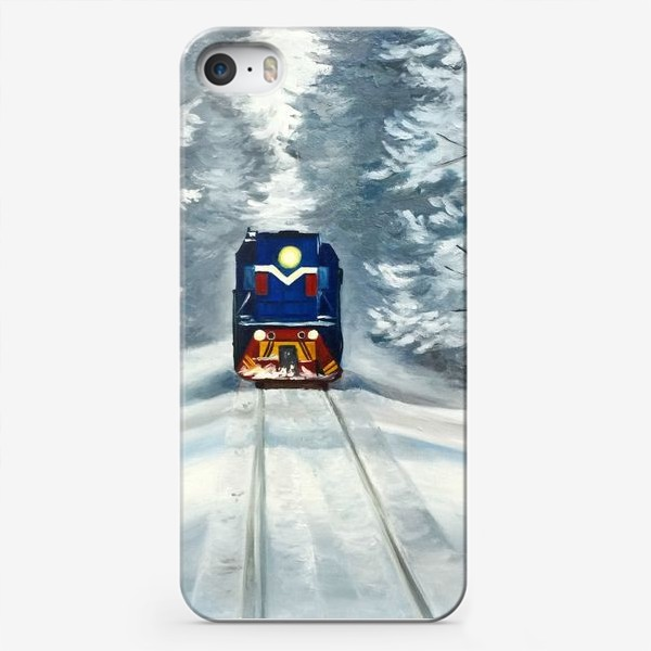 Чехол iPhone «Поезд в зимнем лесу»