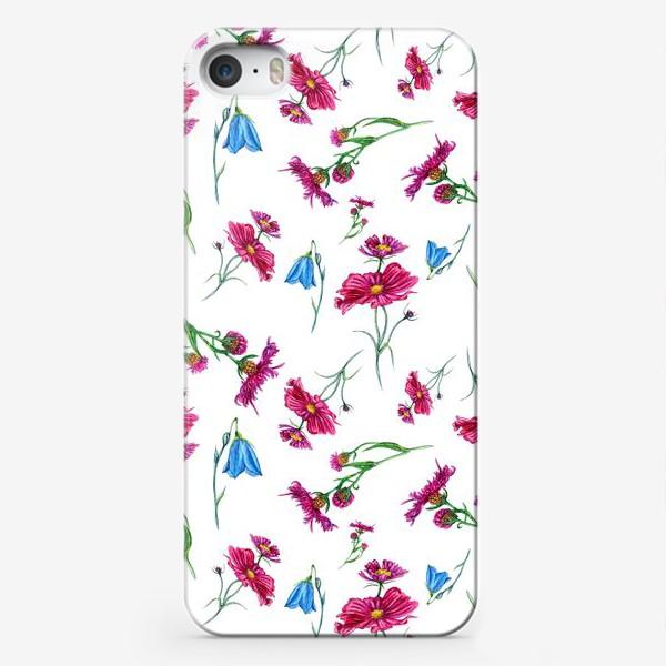 Чехол iPhone «Полевые цветы, красные и голубые»