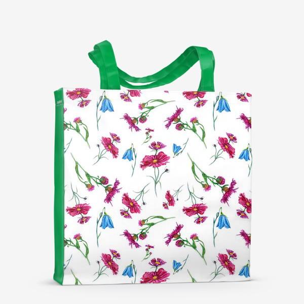 Сумка-шоппер «Полевые цветы, красные и голубые»