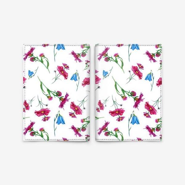 Обложка для паспорта «Полевые цветы, красные и голубые»