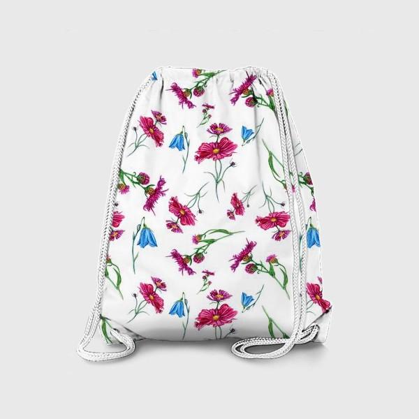 Рюкзак «Полевые цветы, красные и голубые»