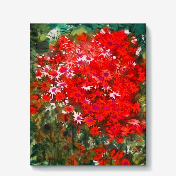 Холст «Красные цветочки»
