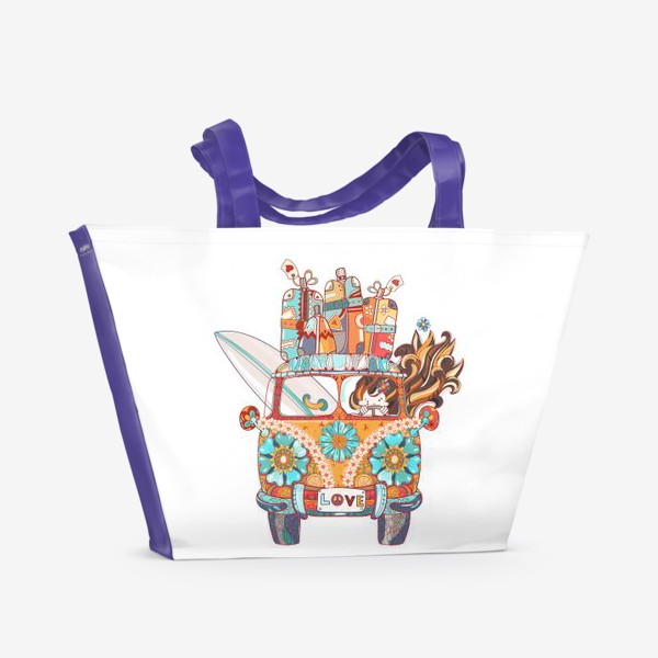 Пляжная сумка «Бохо Серф Автобус»