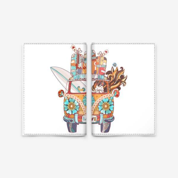 Обложка для паспорта «Бохо Серф Автобус»