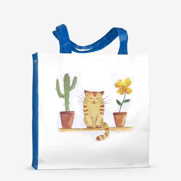 Сумка-шоппер «кот и кактус»