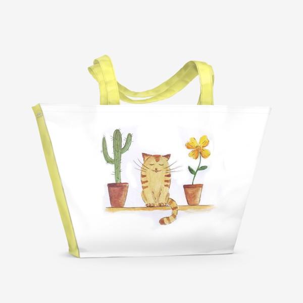 Пляжная сумка «кот и кактус»