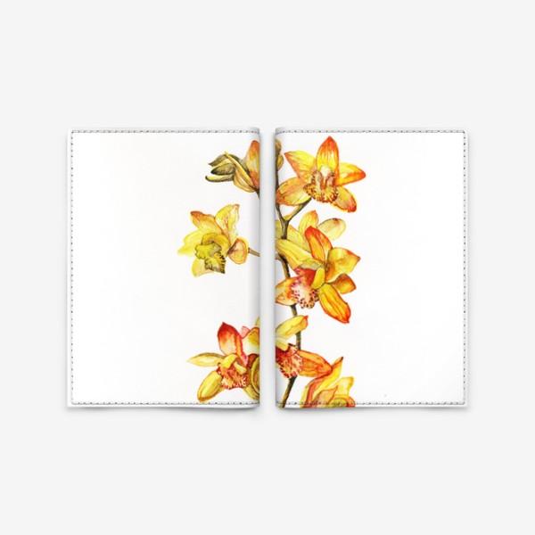 Обложка для паспорта «желтая орхидея»