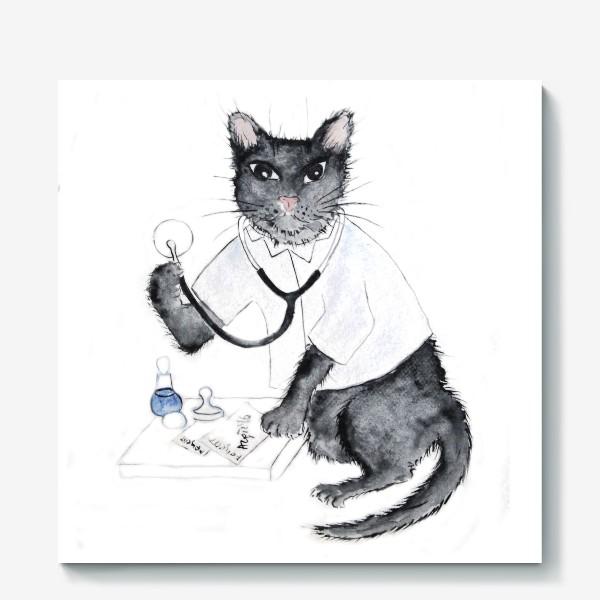 Холст «Котики лечат. Врач-терапевт»