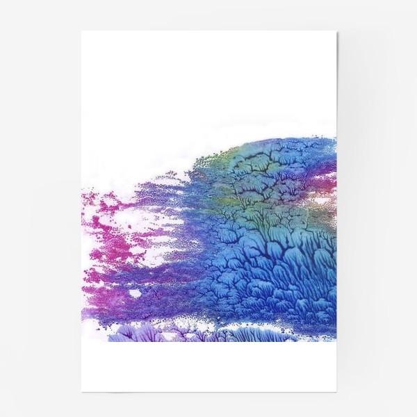 Постер «Акварельная абстракция в розово-синих цветах»