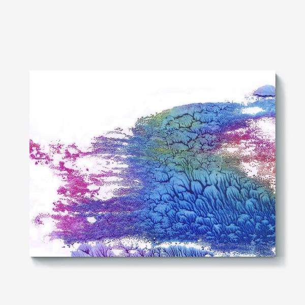 Холст «Акварельная абстракция в розово-синих цветах»