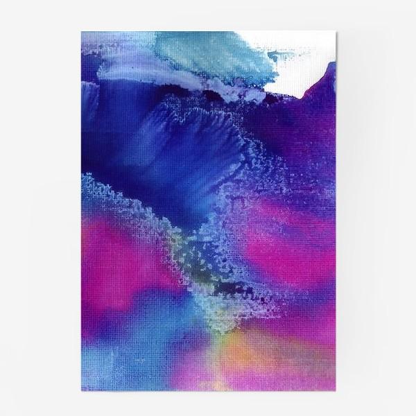 Постер «Акварельная абстракция, синий и розовый»