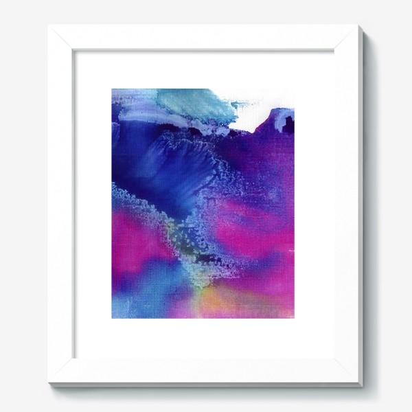 Картина «Акварельная абстракция, синий и розовый»