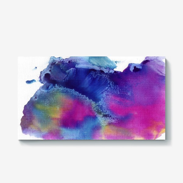 Холст «Акварельная абстракция, синий и розовый»