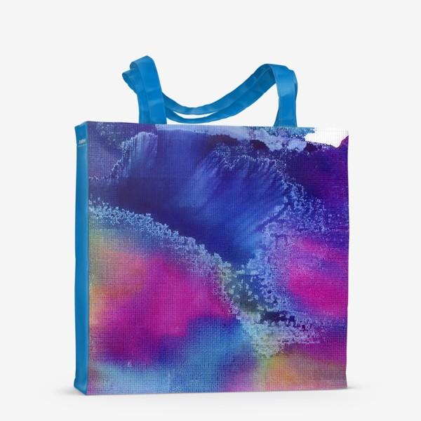 Сумка-шоппер «Акварельная абстракция, синий и розовый»