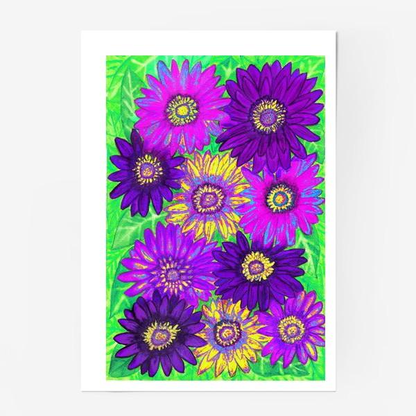 Постер «Фон из гербер, фиолетовых, сиреневых и жёлтых»