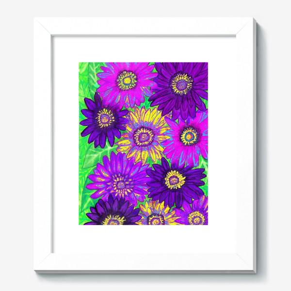 Картина «Фон из гербер, фиолетовых, сиреневых и жёлтых»