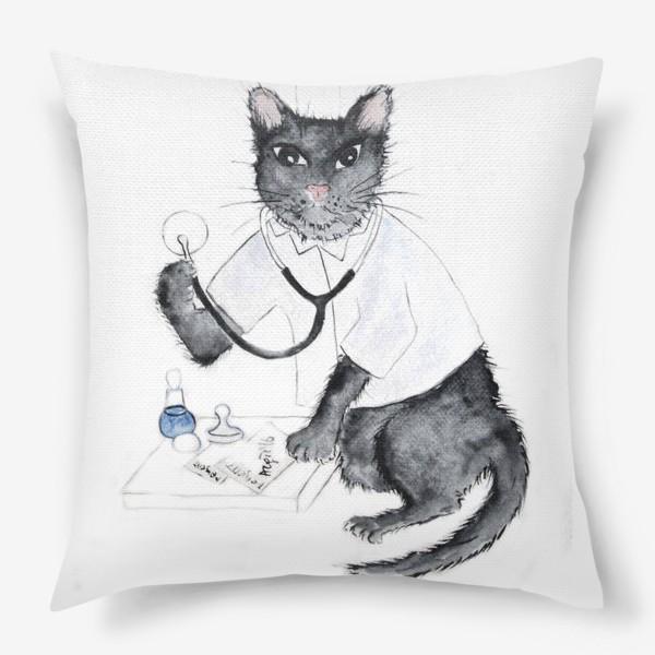 Подушка «Котики лечат. Врач-терапевт»