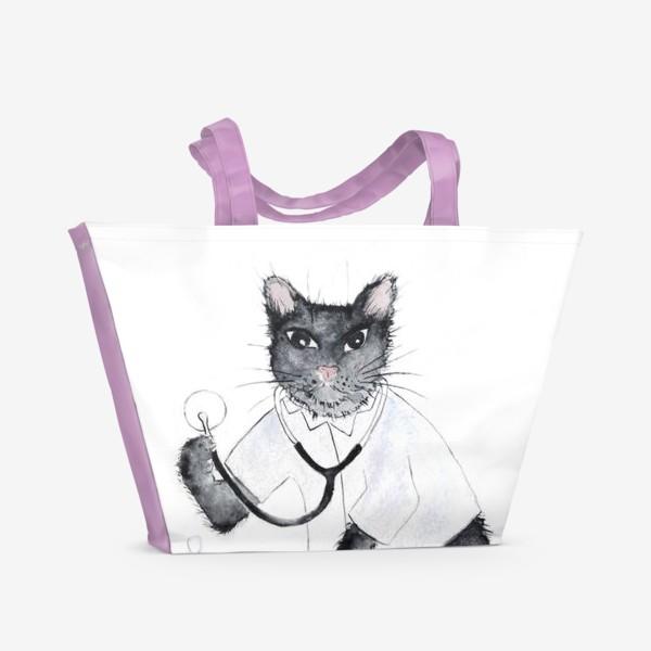 Пляжная сумка «Котики лечат. Врач-терапевт»