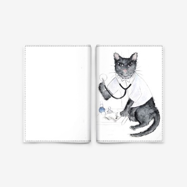 Обложка для паспорта «Котики лечат. Врач-терапевт»