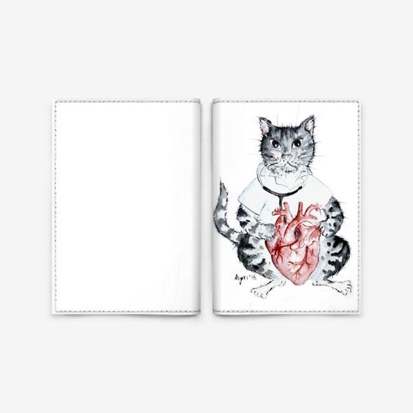 Обложка для паспорта «Котики лечат. Врач Кардиолог»