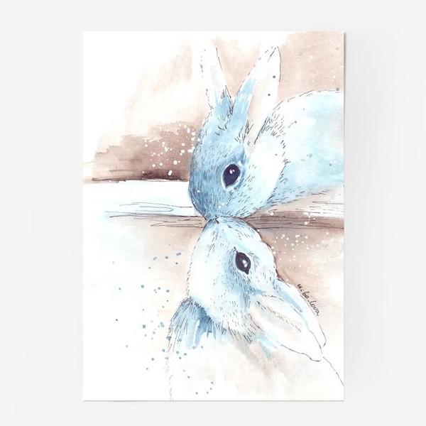 Постер «кролики, поцелуй»
