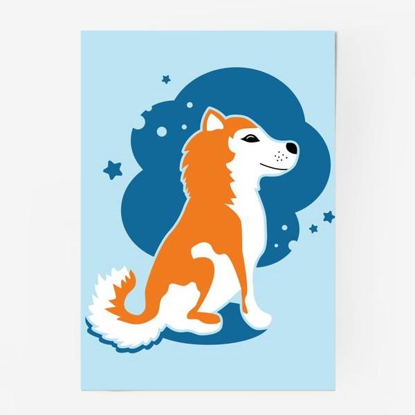 Постер «Мечтательный хаски со звездами»
