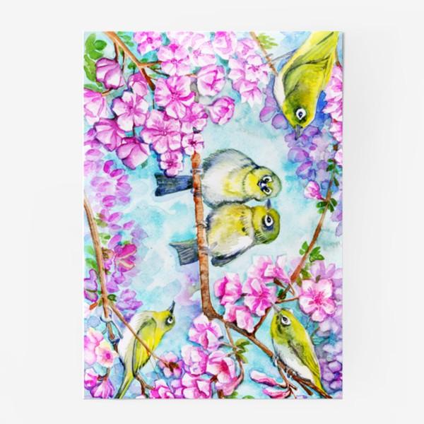 Постер «желтые птицы на цветущей сакуре»