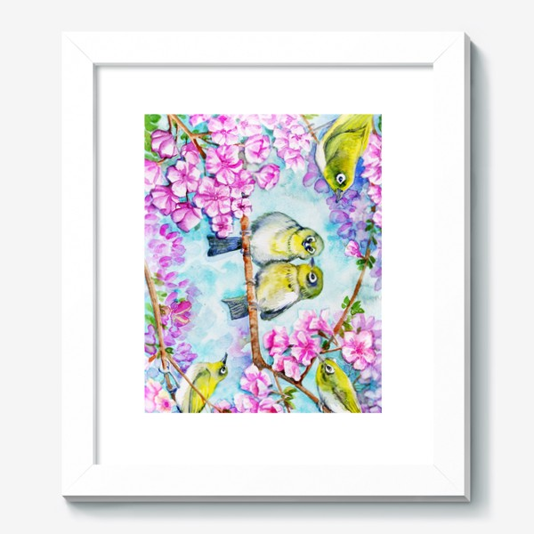 Картина «желтые птицы на цветущей сакуре»
