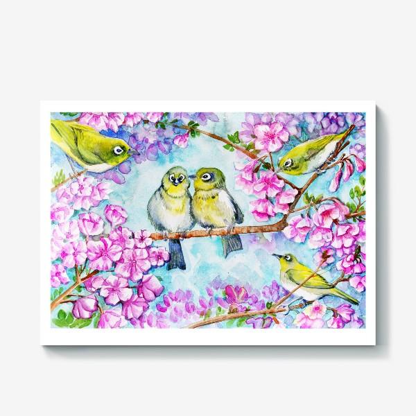 Холст «желтые птицы на цветущей сакуре»