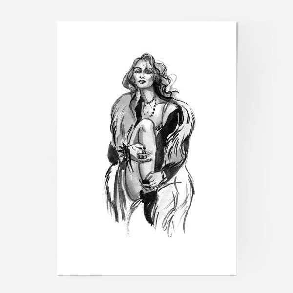 Постер «Фэшн девушка в меховом пальто»