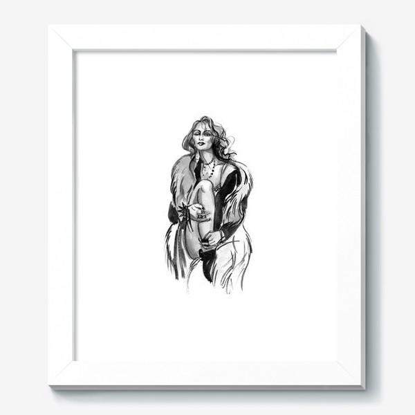 Картина «Фэшн девушка в меховом пальто»