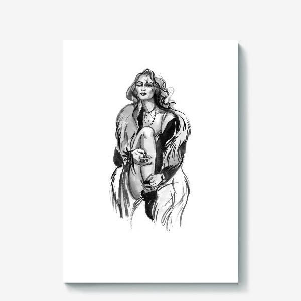 Холст «Фэшн девушка в меховом пальто»
