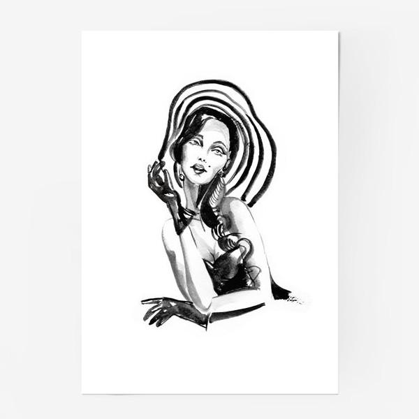 Постер «Девушка в полосатой шляпе»