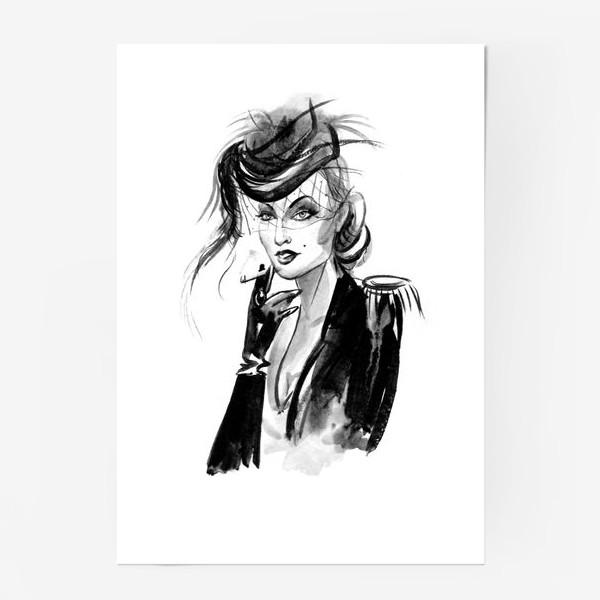 Постер «Девушка в шляпке с вуалью»