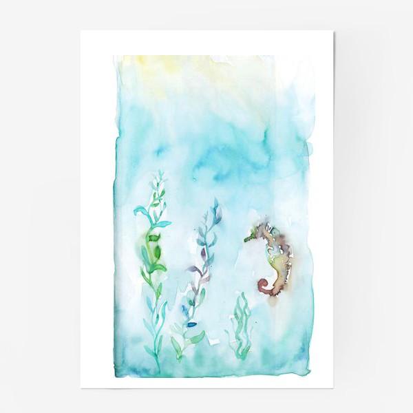 Постер «Морской конек на глубине»