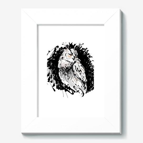 Картина «Сова с характером - выразительная графика»