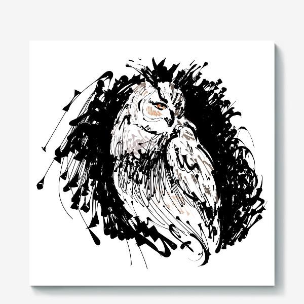 Холст «Сова с характером - выразительная графика»