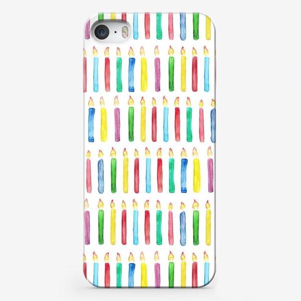 Чехол iPhone «Паттерн с праздничными свечами»