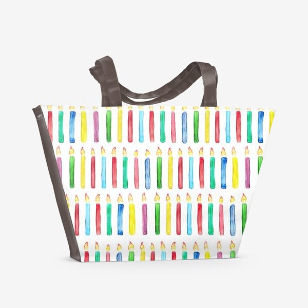 Пляжная сумка «Паттерн с праздничными свечами»