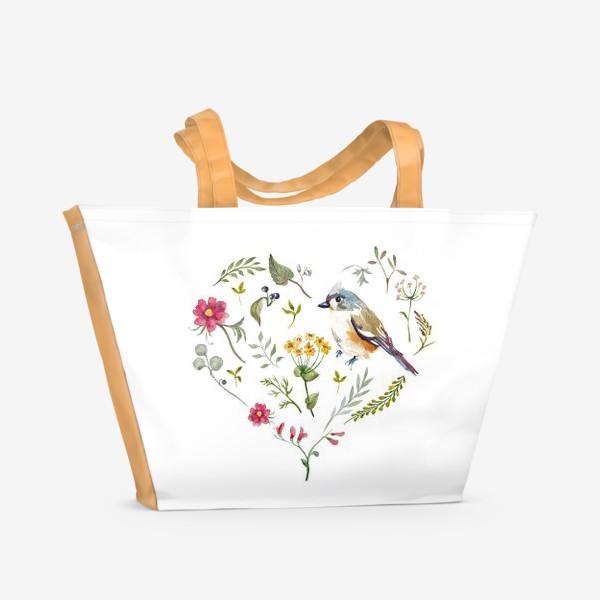 Пляжная сумка «Птица любви в сердце»