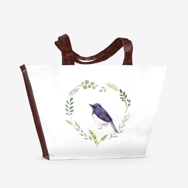 Пляжная сумка «Птичка в сердце»