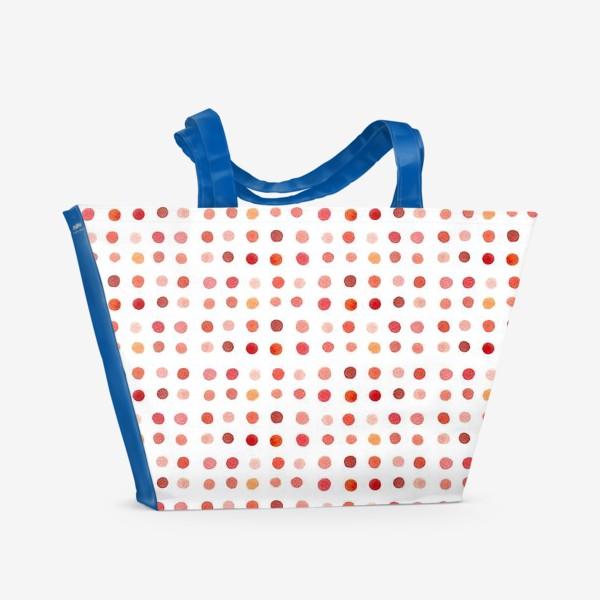 Пляжная сумка «Горошек розовый, паттерн»