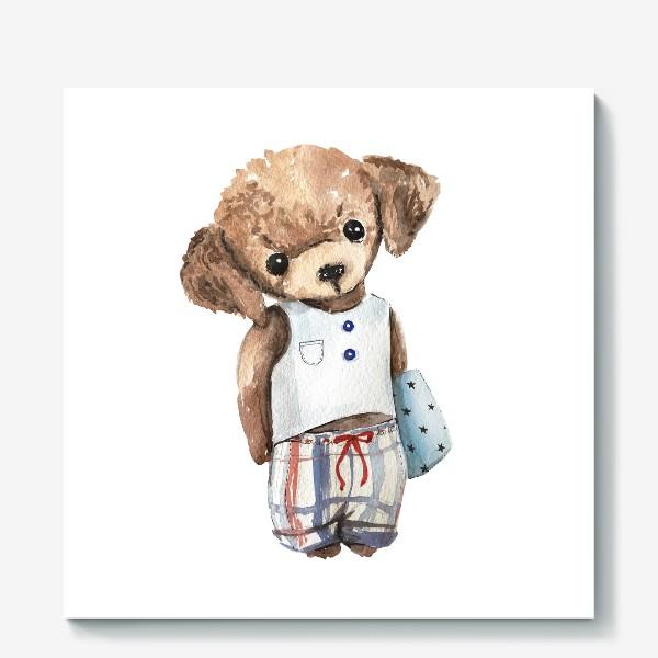 Холст «Собачка в пижаме»