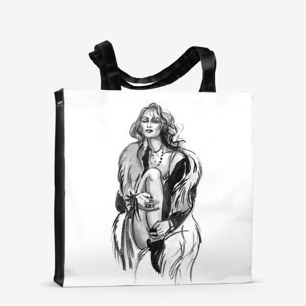 Сумка-шоппер «Фэшн девушка в меховом пальто»
