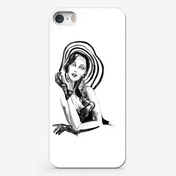 Чехол iPhone «Девушка в полосатой шляпе»