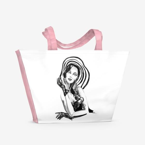 Пляжная сумка «Девушка в полосатой шляпе»
