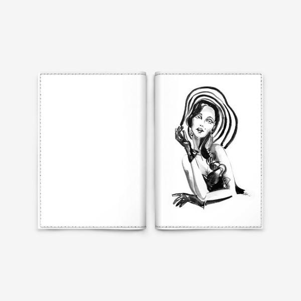 Обложка для паспорта «Девушка в полосатой шляпе»