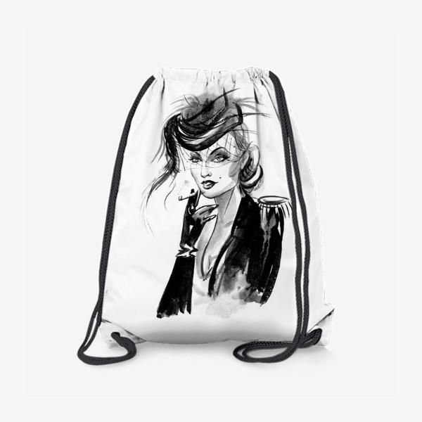 Рюкзак «Девушка в шляпке с вуалью»