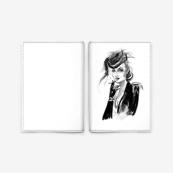 Обложка для паспорта «Девушка в шляпке с вуалью»